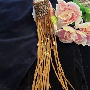 Redwood Jewelry - REDWOOD FAUX LEATHER FRINGE BEADED BOHO NECKLACE